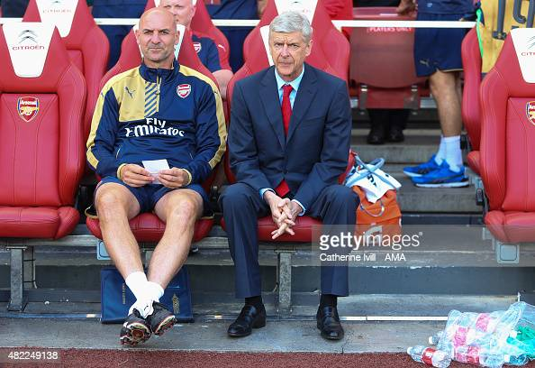 Arsene Wenger manager / head coach of Arsenal and assistant Steve Bould before the Emirates Cup match between Arsenal and Olympique Lyonnais at...