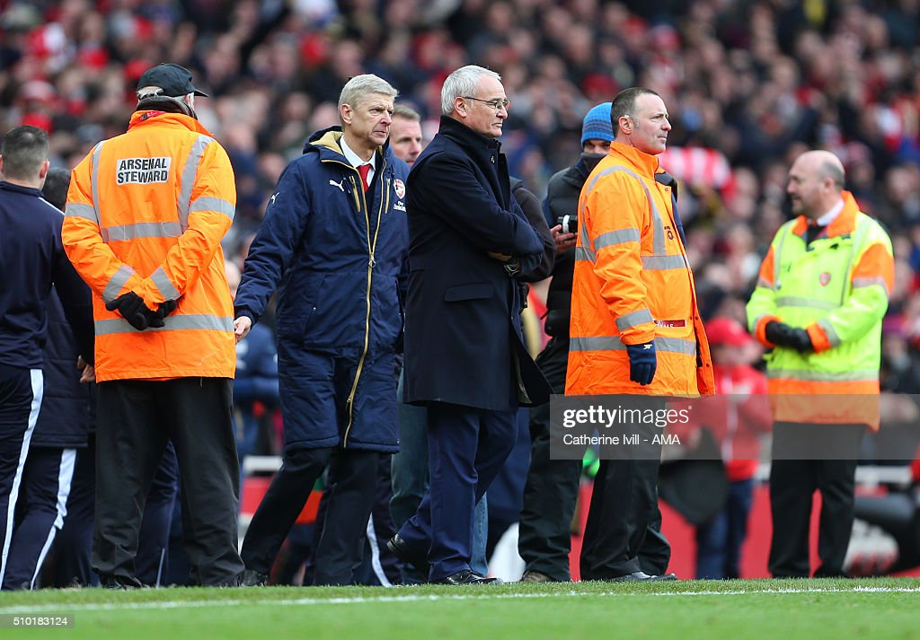 <a gi-track='captionPersonalityLinkClicked' href=/galleries/search?phrase=Arsene+Wenger&family=editorial&specificpeople=171184 ng-click='$event.stopPropagation()'>Arsene Wenger</a> manager of Arsenal and <a gi-track='captionPersonalityLinkClicked' href=/galleries/search?phrase=Claudio+Ranieri&family=editorial&specificpeople=204468 ng-click='$event.stopPropagation()'>Claudio Ranieri</a> manager of Leicester City at the end of the Barclays Premier League match between Arsenal and Leicester City at the Emirates Stadium on February 14, 2016 in London, England.