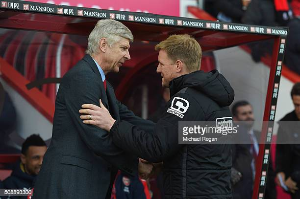 Arsene Wenger manager of Arsenal and Eddie Howe manager of Bournemouth shake hands prior to the Barclays Premier League match between AFC Bournemouth...