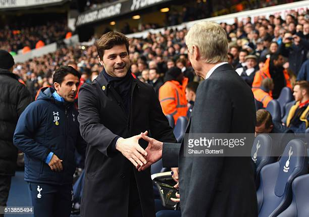 Arsene Wenger manager of Arsenal and Mauricio Pochettino manager of Tottenham Hotspur shake hands prior to the Barclays Premier League match between...