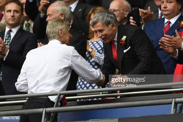 Arsene Wenger Manager of Arsenal and Stan Kroenke Arsenal owner shake hands after The Emirates FA Cup Final between Arsenal and Chelsea at Wembley...