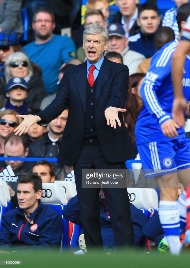 <a gi-track='captionPersonalityLinkClicked' href=/galleries/search?phrase=Arsene+Wenger&family=editorial&specificpeople=171184 ng-click='$event.stopPropagation()'>Arsene Wenger</a> manager of Arsenal appeals during the Barclays Premier League match between Chelsea and Arsenal at Stamford Bridge on March 22, 2014 in London, England.