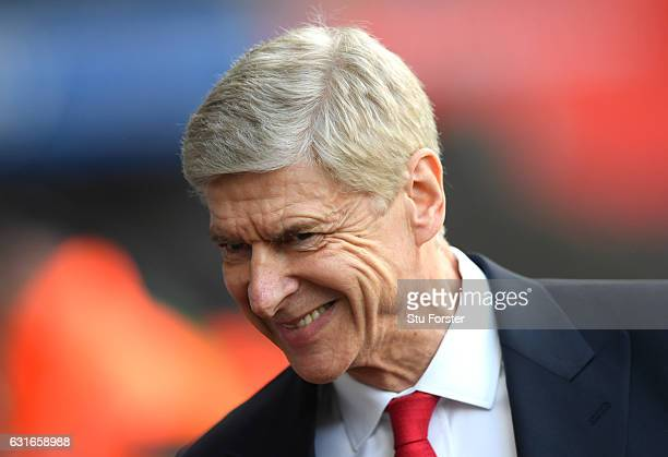 Arsene Wenger Manager of Arsenal arrives at the stadium prior to the Premier League match between Swansea City and Arsenal at Liberty Stadium on...