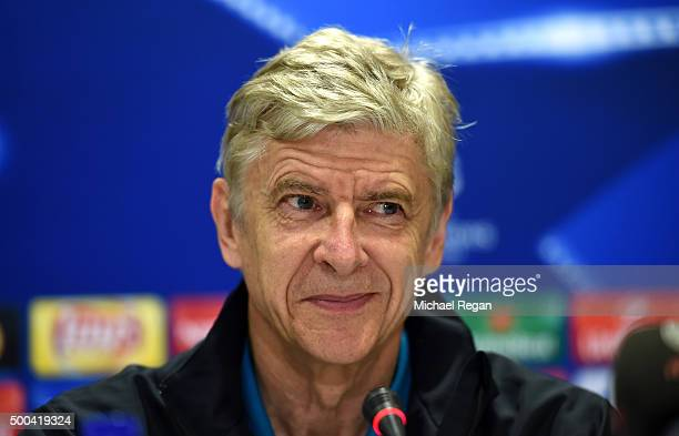 Arsene Wenger manager of Arsenal attends an Arsenal press conference ahead of the UEFA Champions League match against Olympiacos at Athens...