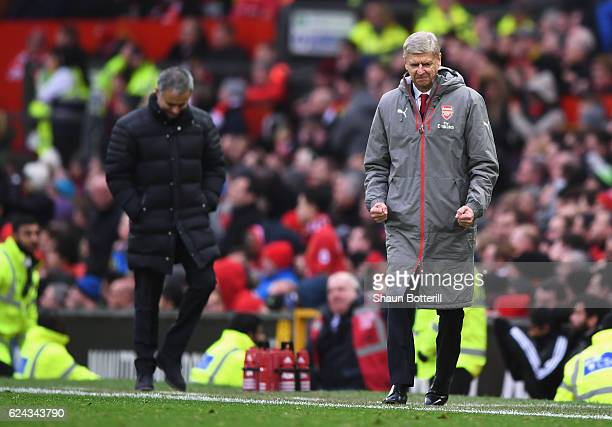 Arsene Wenger Manager of Arsenal celebrates during the Premier League match between Manchester United and Arsenal at Old Trafford on November 19 2016...