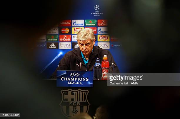 Arsene Wenger manager of Arsenal faces the media during a press conference ahead of their UEFA Champions League round of 16 second leg match against...