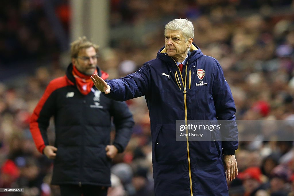 Arsene Wenger Manager of Arsenal gestures during the Barclays Premier League match between Liverpool and Arsenal at Anfield on January 13, 2016 in Liverpool, England.