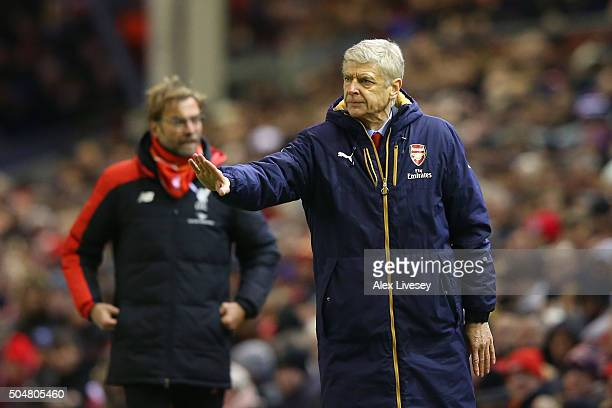 Arsene Wenger Manager of Arsenal gestures during the Barclays Premier League match between Liverpool and Arsenal at Anfield on January 13 2016 in...