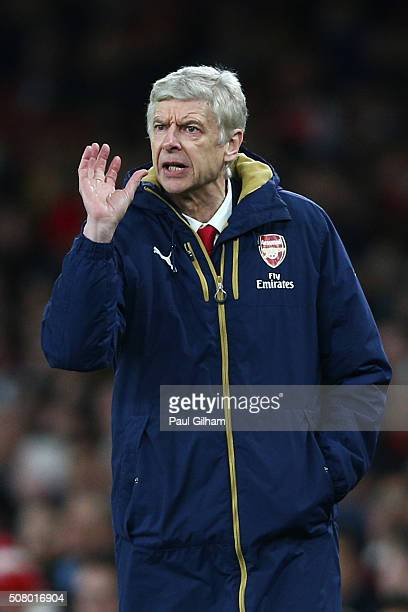 Arsene Wenger Manager of Arsenal gestures during the Barclays Premier League match between Arsenal and Southampton at the Emirates Stadium on...