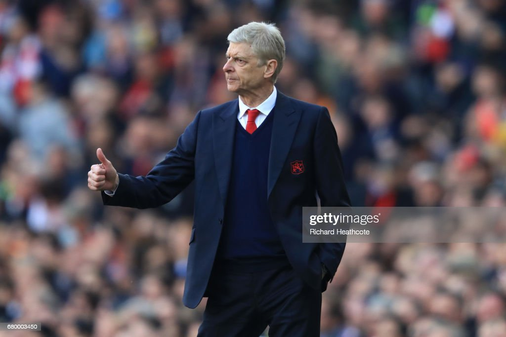 Arsene Wenger, Manager of Arsenal gestures during the Premier League match between Arsenal and Manchester United at the Emirates Stadium on May 7, 2017 in London, England.
