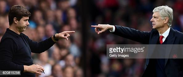 COMPOSITE OF TWO IMAGES Image numbers 592318370 and 614823152 In this composite image a comparision has been made between Mauricio Pochettino Manager...
