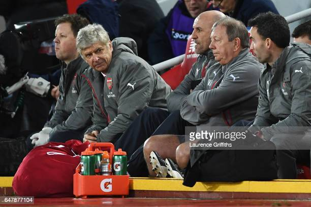 Arsene Wenger Manager of Arsenal looks dejected after liverpools second goal during the Premier League match between Liverpool and Arsenal at Anfield...