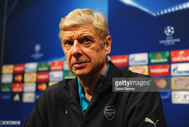 Arsene Wenger manager of Arsenal looks on during an Arsenal press conference ahead of their UEFA Champions League round of 16 second leg match...