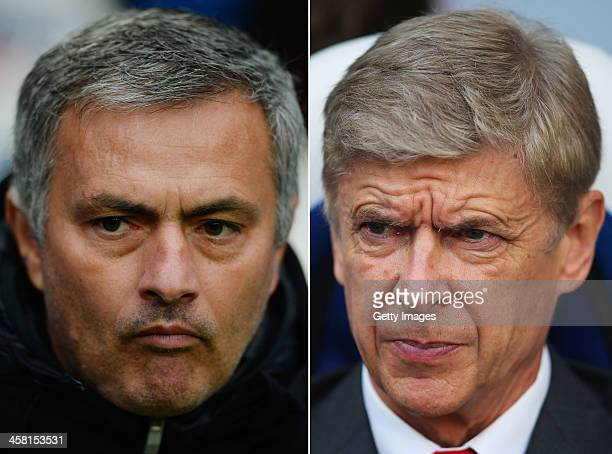 COMPOSITE OF TWO IMAGES Image Numbers 186970818 and 185913816 In this composite image a comparison has been made between Chelsea Manager Jose...