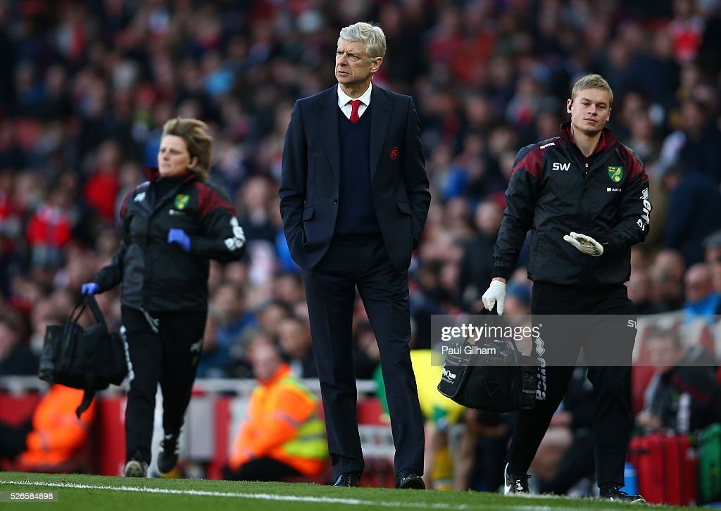 <a gi-track='captionPersonalityLinkClicked' href=/galleries/search?phrase=Arsene+Wenger&family=editorial&specificpeople=171184 ng-click='$event.stopPropagation()'>Arsene Wenger</a>, manager of Arsenal looks on during the Barclays Premier League match between Arsenal and Norwich City at The Emirates Stadium on April 30, 2016 in London, England