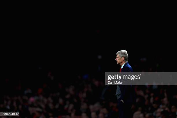 Arsene Wenger Manager of Arsenal looks on during the Carabao Cup Third Round match between Arsenal and Doncaster Rovers at Emirates Stadium on...