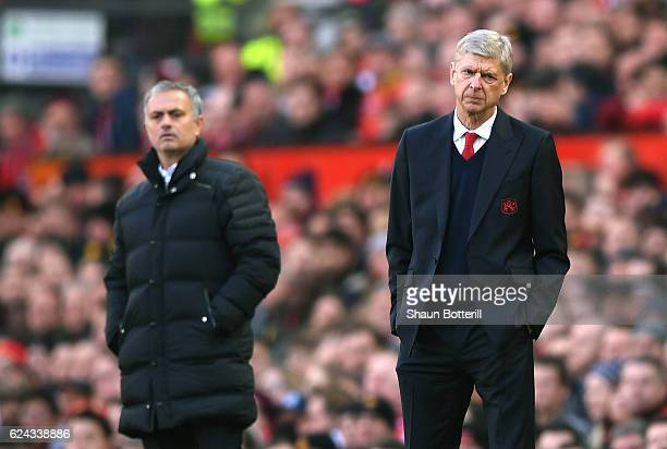 Arsene Wenger Manager of Arsenal looks on during the Premier League match between Manchester United and Arsenal at Old Trafford on November 19 2016...