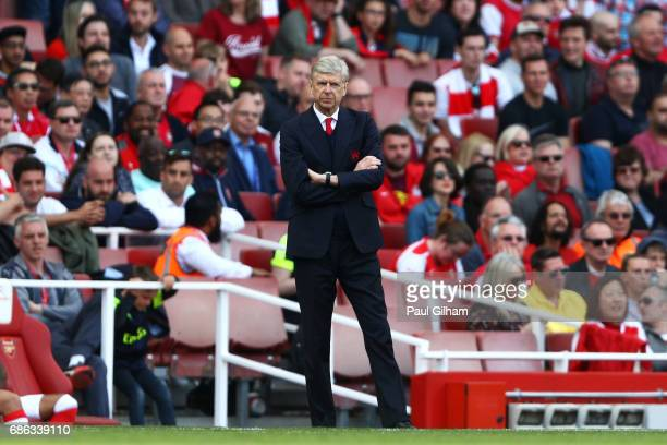 Arsene Wenger Manager of Arsenal looks on during the Premier League match between Arsenal and Everton at Emirates Stadium on May 21 2017 in London...