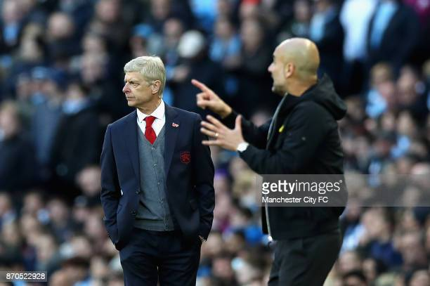 Arsene Wenger Manager of Arsenal looks on during the Premier League match between Manchester City and Arsenal at Etihad Stadium on November 5 2017 in...