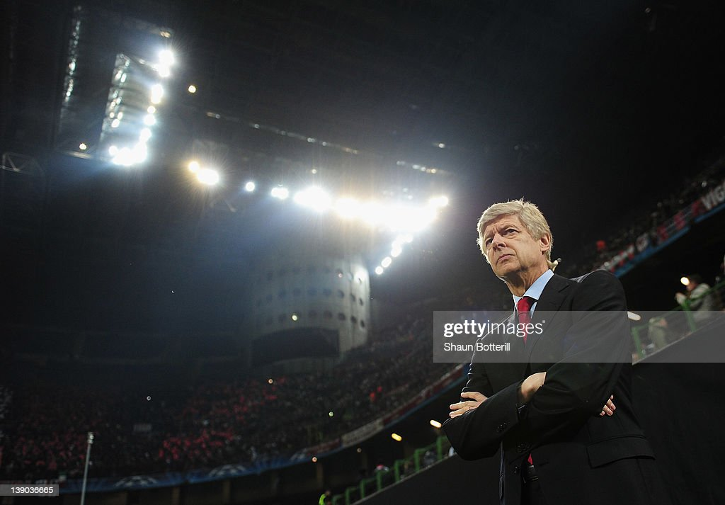<a gi-track='captionPersonalityLinkClicked' href=/galleries/search?phrase=Arsene+Wenger&family=editorial&specificpeople=171184 ng-click='$event.stopPropagation()'>Arsene Wenger</a>, manager of Arsenal looks on during the UEFA Champions League round of 16 first leg match between AC Milan and Arsenal at Stadio Giuseppe Meazza on February 15, 2012 in Milan, Italy.