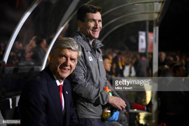 Arsene Wenger manager of Arsenal looks on from the bench before the Emirates FA Cup fifth round match between Sutton United and Arsenal on February...