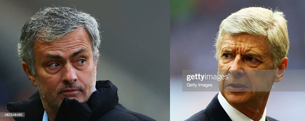 (FILE PHOTO - Image Numbers 467249794 (L) and 475265162) In this composite image a comparison has been made between Jose Mourinho manager of Chelsea and <a gi-track='captionPersonalityLinkClicked' href=/galleries/search?phrase=Arsene+Wenger&family=editorial&specificpeople=171184 ng-click='$event.stopPropagation()'>Arsene Wenger</a> manager of Arsenal , Chelsea and Arsenal meet in the season opening match the FA Community Shield at Wembley Stadium on August 2, 2015 in London,England. Traditionally the match is between the Premier League Champions and the FA Cup Winners of the previous season. LONDON, ENGLAND - MAY 30: <a gi-track='captionPersonalityLinkClicked' href=/galleries/search?phrase=Arsene+Wenger&family=editorial&specificpeople=171184 ng-click='$event.stopPropagation()'>Arsene Wenger</a> manager of Arsenal looks on prior to during the FA Cup Final between Aston Villa and Arsenal at Wembley Stadium on May 30, 2015 in London, England.