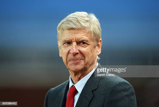 Arsene Wenger manager of Arsenal looks on prior to the Barclays Premier League match between Stoke City and Arsenal at Britannia Stadium on January...