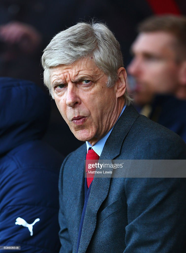 <a gi-track='captionPersonalityLinkClicked' href=/galleries/search?phrase=Arsene+Wenger&family=editorial&specificpeople=171184 ng-click='$event.stopPropagation()'>Arsene Wenger</a> manager of Arsenal looks on prior to the Barclays Premier League match between A.F.C. Bournemouth and Arsenal at the Vitality Stadium on February 7, 2016 in Bournemouth, England.
