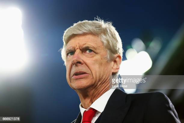 Arsene Wenger Manager of Arsenal looks on prior to the Premier League match between Crystal Palace and Arsenal at Selhurst Park on April 10 2017 in...