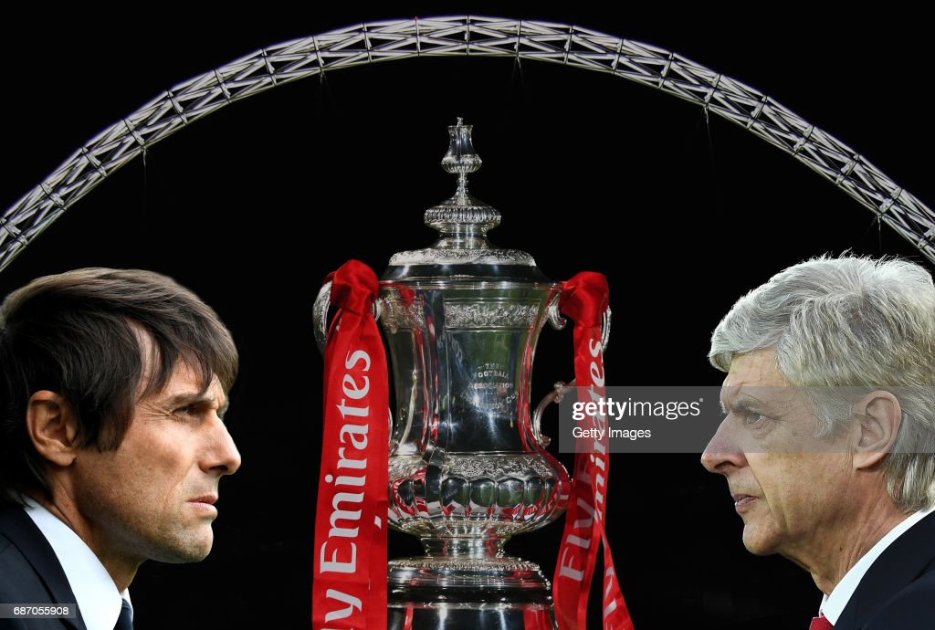 IMAGES - Image numbers 73035843,675114354,647864298,496018146) In this composite image a comparision has been made between Antonio Conte, Manager of Chelsea and Arsene Wenger, Manager of Arsenal. Arsenal and Chelsea meet in the Emirates FA Cup Final at Wembley Stadium on May 27, 2017 in London,England. LIVERPOOL, ENGLAND - MARCH 04: Arsene Wenger, Manager of Arsenal looks on prior to the Premier League match between Liverpool and Arsenal at Anfield on March 4, 2017 in Liverpool, England.