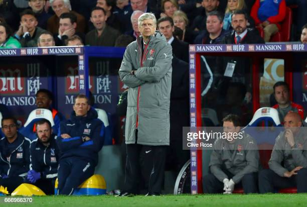 Arsene Wenger manager of Arsenal looks thoughtful during the Premier League match between Crystal Palace and Arsenal at Selhurst Park on April 10...