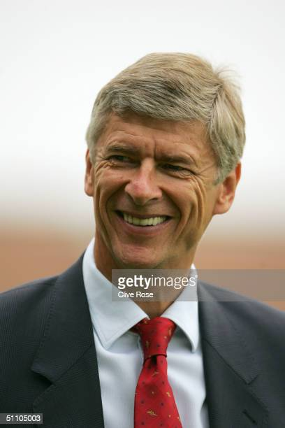 Arsene Wenger manager of Arsenal prior to the PreSeason friendly match between Barnet and Arsenal at the Underhill Stadium Barnet on July 17 2004 in...