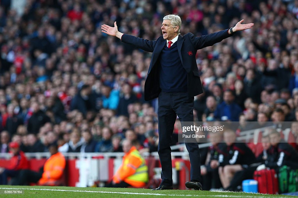 <a gi-track='captionPersonalityLinkClicked' href=/galleries/search?phrase=Arsene+Wenger&family=editorial&specificpeople=171184 ng-click='$event.stopPropagation()'>Arsene Wenger</a>, manager of Arsenal reacts during the Barclays Premier League match between Arsenal and Norwich City at The Emirates Stadium on April 30, 2016 in London, England
