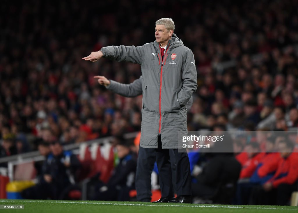 Arsene Wenger, Manager of Arsenal reacts during the Premier League match between Arsenal and Leicester City at the Emirates Stadium on April 26, 2017 in London, England.