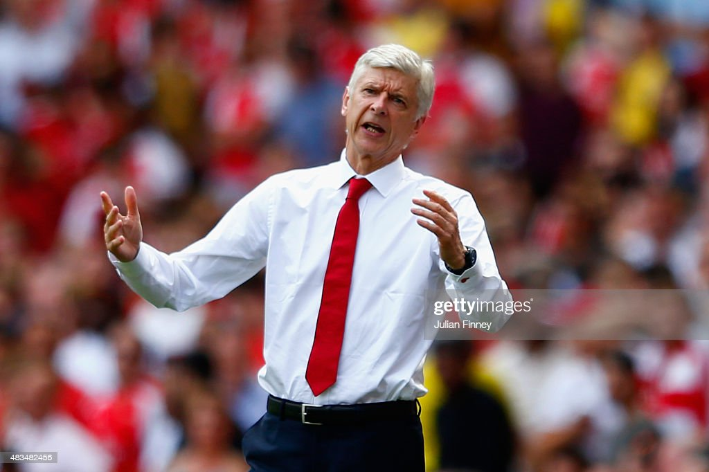 <a gi-track='captionPersonalityLinkClicked' href=/galleries/search?phrase=Arsene+Wenger&family=editorial&specificpeople=171184 ng-click='$event.stopPropagation()'>Arsene Wenger</a>, Manager of Arsenal reacts on the touchline during the Barclays Premier League match between Arsenal and West Ham United at the Emirates Stadium on August 9, 2015 in London, England.