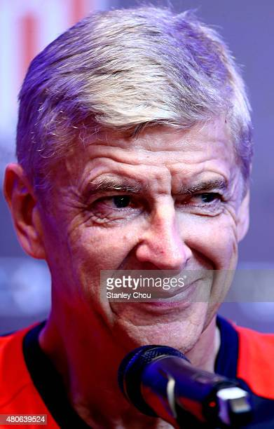 Arsene Wenger manager of Arsenal smiles during the prematch press conference ahead of the match between Arsenal and Singapore of the 2015 Barclays...