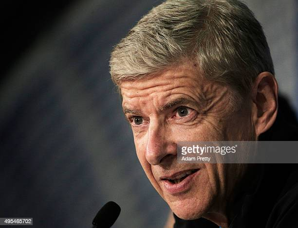 Arsene Wenger Manager of Arsenal speaks to the media during the Arsenal Press Conference at Allianz Arena on November 3 2015 in Munich Bavaria