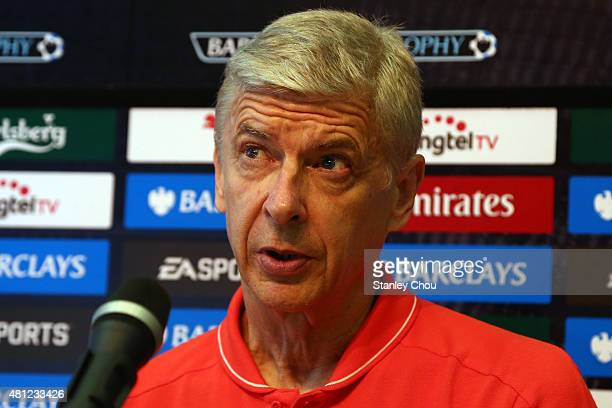 Arsene Wenger manager of Arsenal speaks to the media during the post match press conference after they defeated Everton 31 during the Barclays Asia...