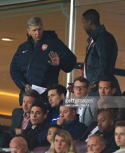 Arsene Wenger manager of Arsenal watches on from the stands during the FA Youth Cup Semi Final Second Leg match between Arsenal U18 v Chelsea U18 at...