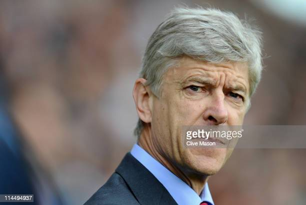 Arsene Wenger of Arsenal looks on during the Barclays Premier League match between Fulham and Arsenal at Craven Cottage on May 22 2011 in London...