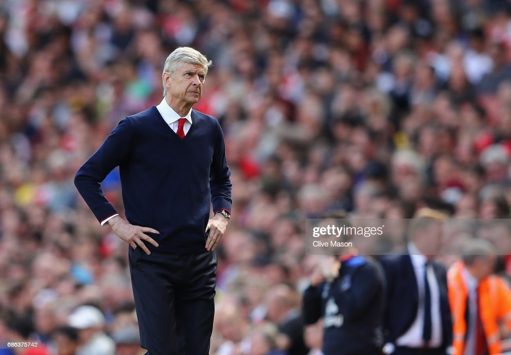 Arsene Wenger of Arsenal looks on during the Premier League match between Arsenal and Everton at Emirates Stadium on May 21, 2017 in London, England.