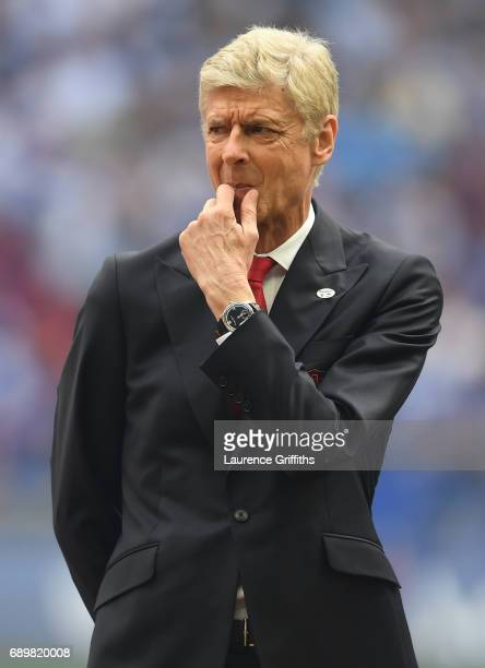 Arsene Wenger of Arsenal looks on prior to the Emirates FA Cup Final between Arsenal and Chelsea at Wembley Stadium on May 27 2017 in London England