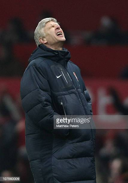 Arsene Wenger of Arsenal shows his disappointment during the Barclays Premier League match between Manchester United and Arsenal at Old Trafford on...