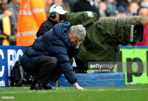 Arsene Wenger of Arsenal shows his dispair as Birmingham City score and equaliser during the Barclays Premier League match between Birmingham City...