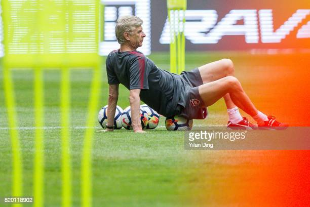 Arsene Wenger reacts During a training session at Birds Nest on July 21 2017 in Beijing China