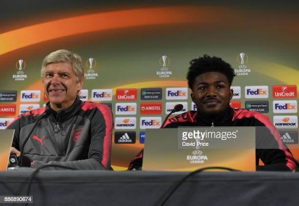 Arsene Wenger the Arsenal Manager and Ainsley MaitlandNiles of Arsenal attend a press conference on the eve of the UEFA Europa League group H match...