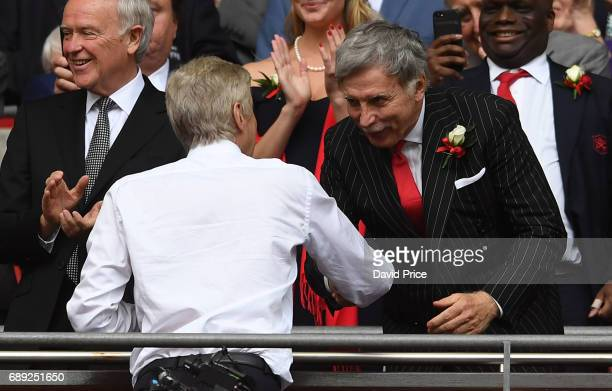 Arsene Wenger the Arsenal Manager and Arsenal Director Stan Kroenke after the match between Arsenal and Chelsea at Wembley Stadium on May 27 2017 in...