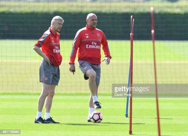 Arsene Wenger the Arsenal Manager and his assistant Steve Bould during the Arsenal Training Session at London Colney on May 24 2017 in St Albans...
