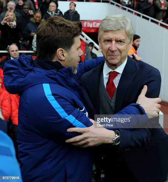 Arsene Wenger the Arsenal Manager and Mauricio Pochettino the Manager of Tottenham before the Premier League match between Arsenal and Tottenham...
