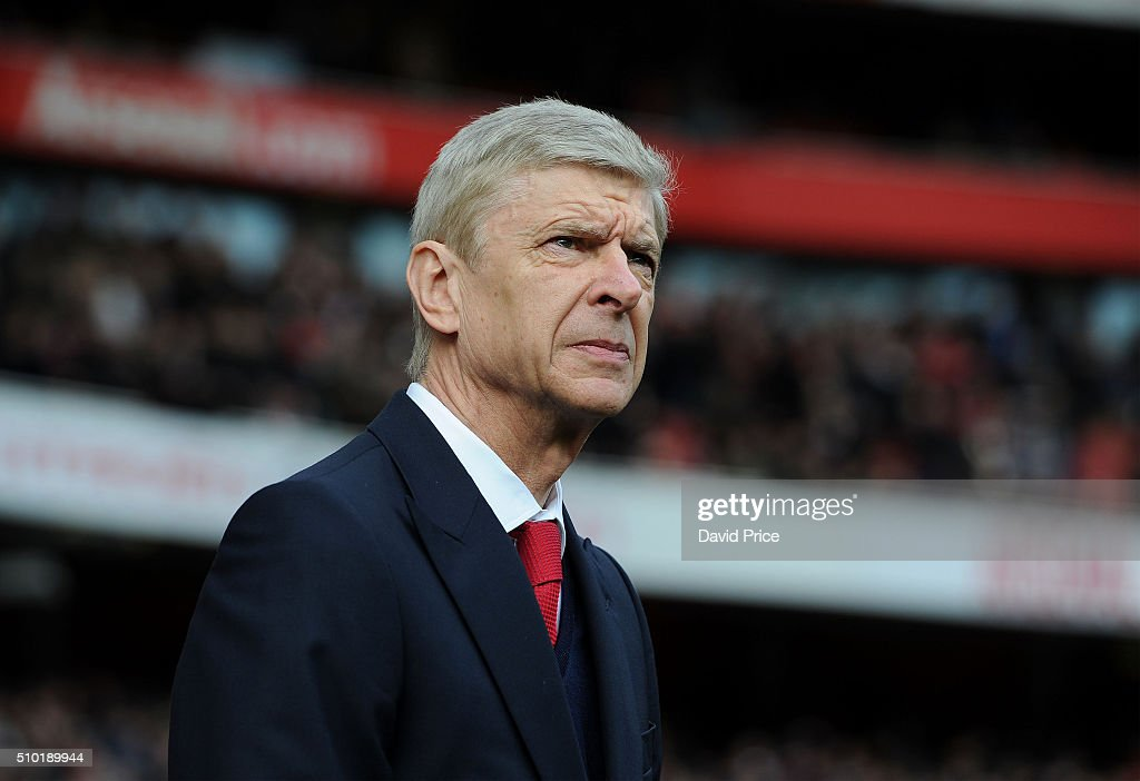 <a gi-track='captionPersonalityLinkClicked' href=/galleries/search?phrase=Arsene+Wenger&family=editorial&specificpeople=171184 ng-click='$event.stopPropagation()'>Arsene Wenger</a> the Arsenal Manager before the Barclays Premier League match between Arsenal and Leicester City at Emirates Stadium on February 14th, 2016 in London, England